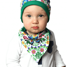 polish rooster hat and bandana on a model