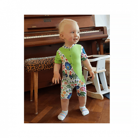 Polish Rooster summer romper on a model