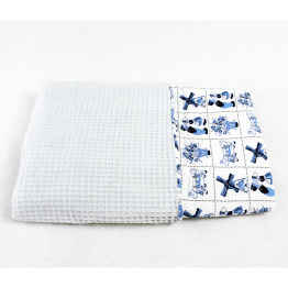 Ice blue baby blanket with waffle