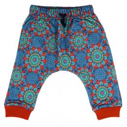 blue mandala harem pants front