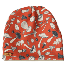 mushroom orange beige hat