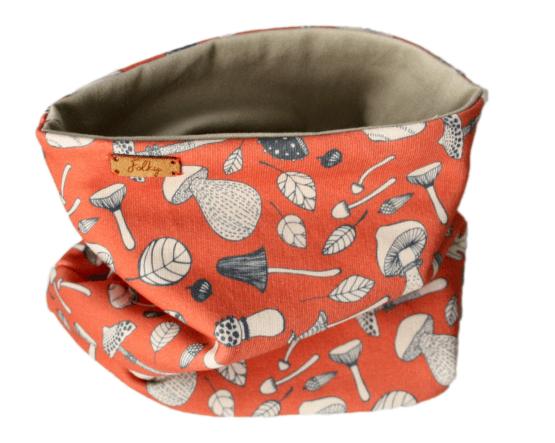 orange beige mushrooms scarf