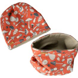 mushroom orange baige hat scarfset