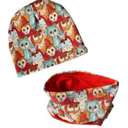 owls hat scarf set