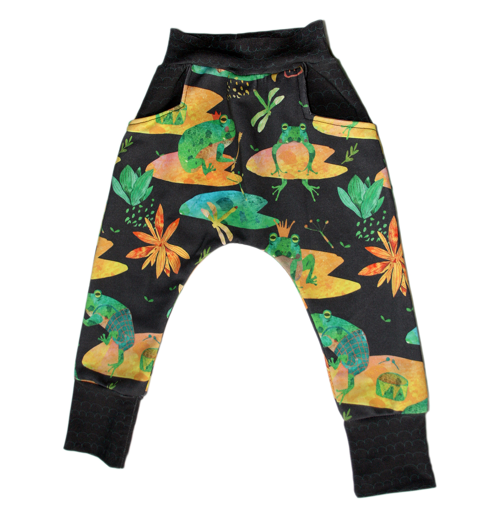 cute frogs baby harem pants with pockets front