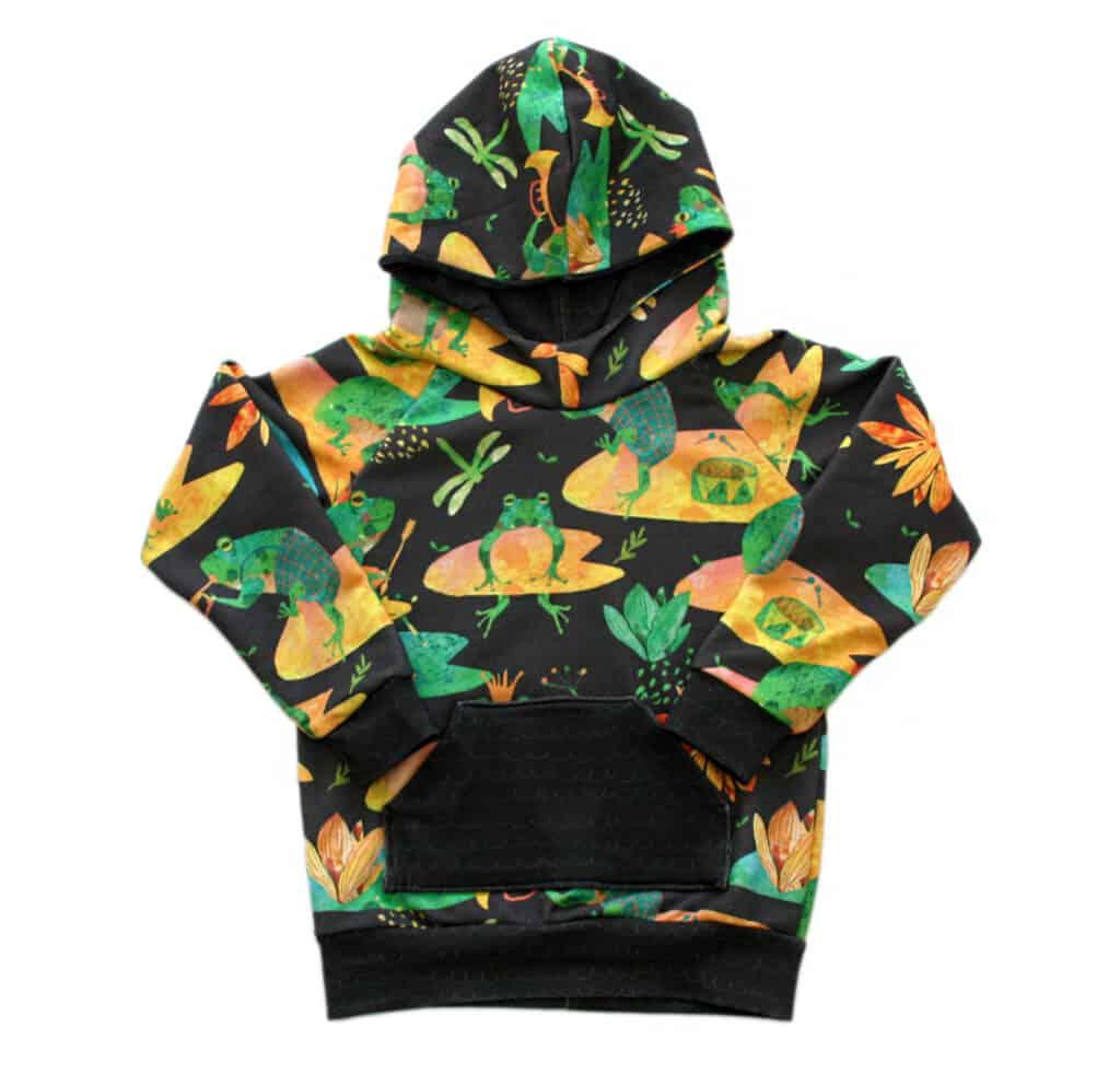 cute frogs baby raglan hoodie with pocket